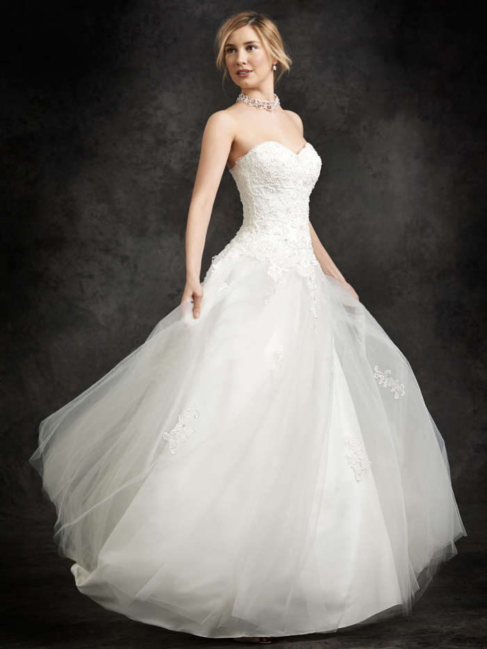 Bride dresses tulle sweetheart sweep train appliques a for Wedding dress no train