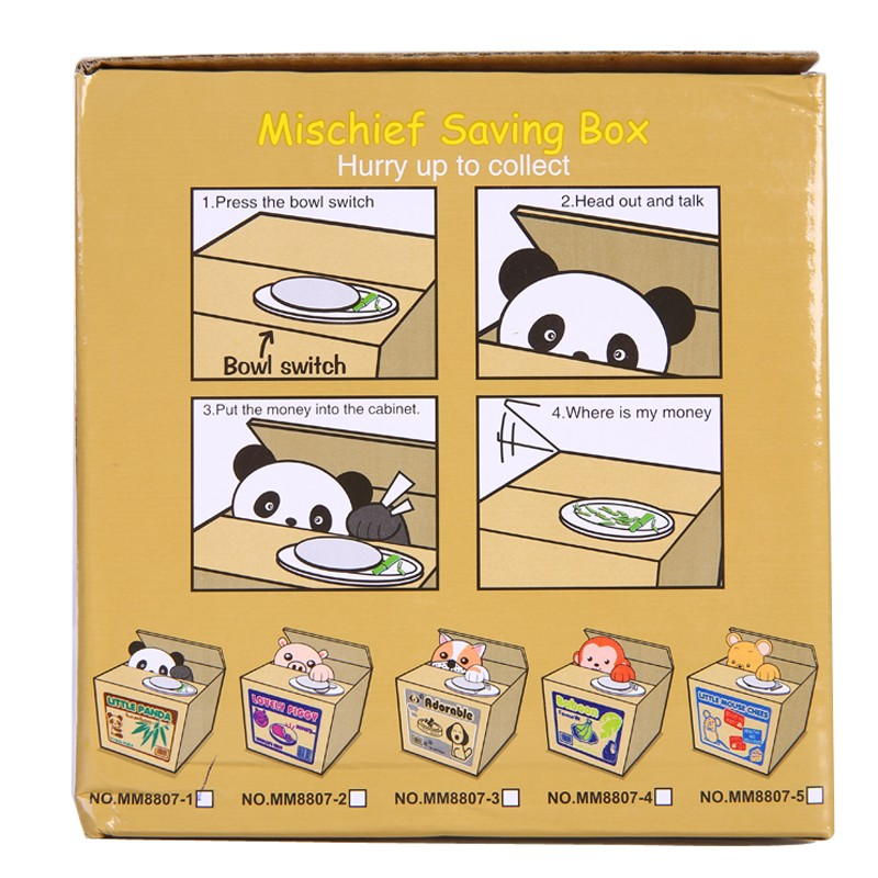 Mischief Piggy Bank Automatic Electric Stole Coin Box Little Panda Dog Cat Money Box Funny Toy Piggy Bank Children Birthday Gift