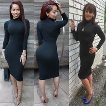 S-XXL women winter long sleeve v neck sexy club dress 2016 midi pencil bodycon bandage party dresses plus size women clothing(China (Mainland))