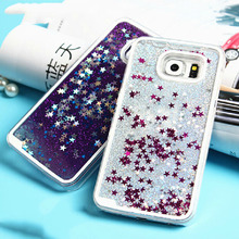 For Samsung Galaxy S3 S4 S5 S6 S7 Edge Note 3 4 5 Back Cover Glitter Stars Liquid Quicksand Hard Transparent Phone Case& Bags(China (Mainland))