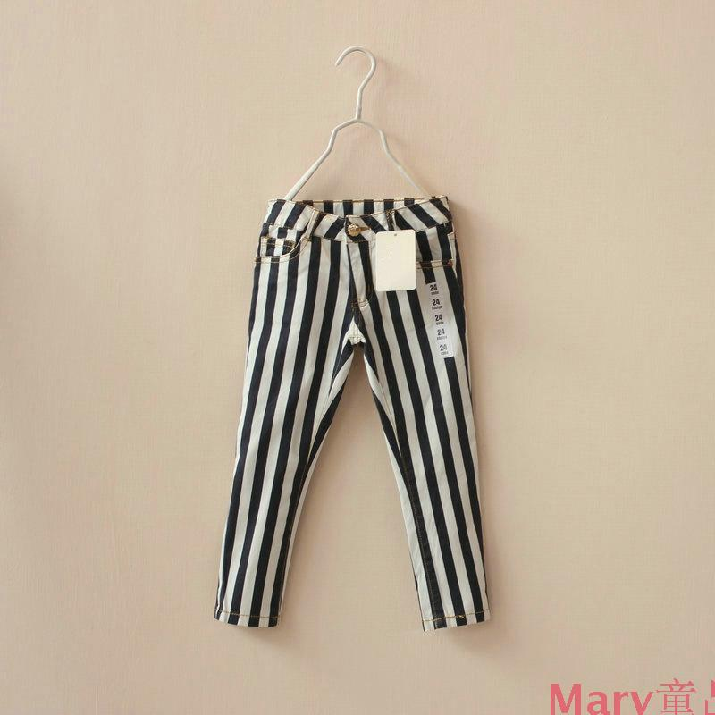 2014 spring childrens girls Black white stripes elastic force Pencil pants<br><br>Aliexpress