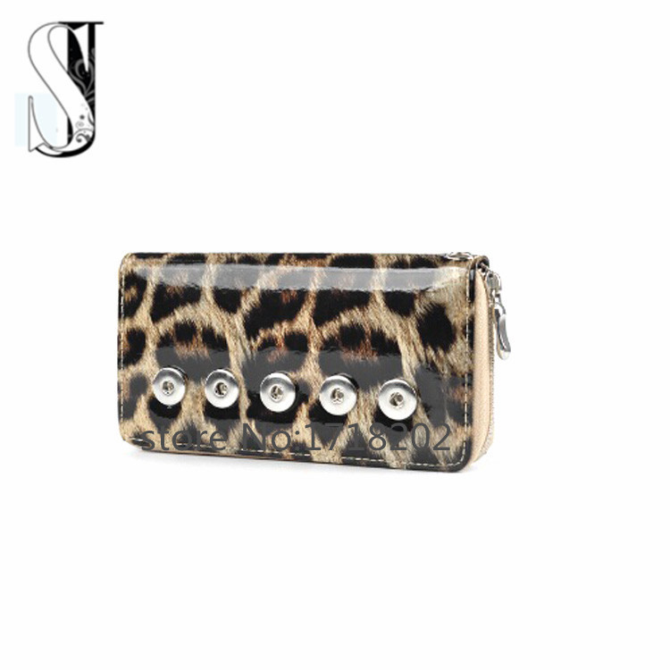 Fashion jewelry leopard print PU Leather welcome snap button Wallets DIY jewelry wallet Fits 18mm Snaps Buttons SJSW_001(China (Mainland))