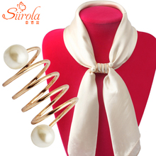 Free shipping Women Fashion Simple Spiral shape Brass Gold plated Imitation pearl Brooches Shawl Scarves Scarf buckle ring clips(China (Mainland))
