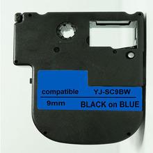 9mm*8m compatible for KINGJIM SC9BW  black on blue Strong Adhesive label tape printer Ribbons Printer Supplies printer ribbon