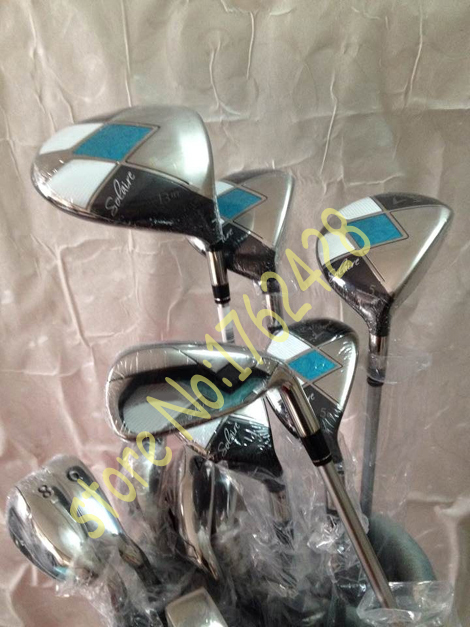 Complete Lady golf clubs SOLAIRE driver + fairway woods 3# 5# + SOLAIRE hybird 5# 6#+ SOLAIRE irons 789PAS+ putter + golf bag(China (Mainland))