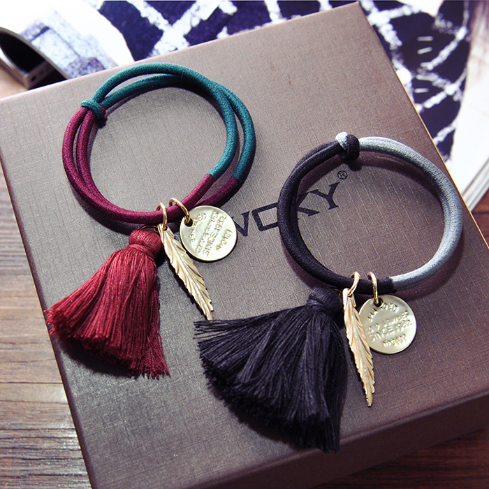 Vintage Fringed Leaves Hairband Elastic Hair Band For Female Women's Multiple Use Hair Ring Rope Hair Accessorie Bracelet