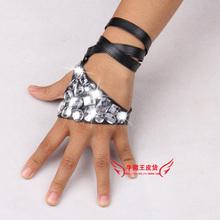 Женщины в хип-хоп ds акрил горный хрусталь полиуретан кожа перчатки леди в бинты ночной клуб performace панк перчатки