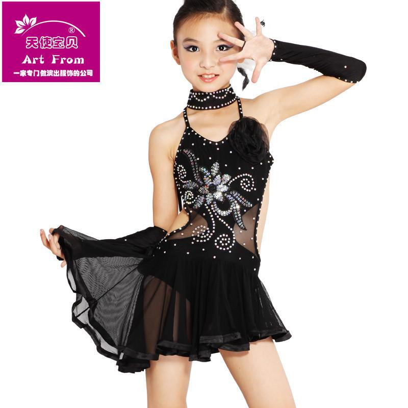 Latin Dance Girl Dress Kids Samba Dress Child Salsa Dresses Sequin ...