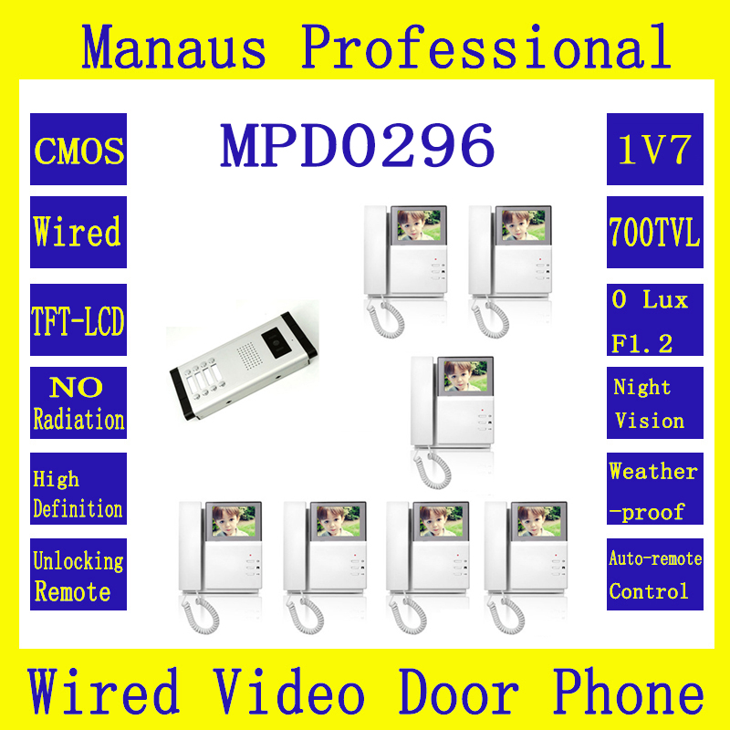 "One to Seven Video Doorphone 4.3"" TFT LCD Multi-storey Residential Buildings With Straight Touch Video Intercom On Selling D296b(China (Mainland))"