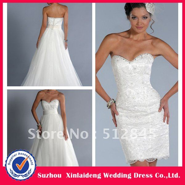 Yw 12061476 elegant lace convertible wedding dress with for Wedding dress removable skirt