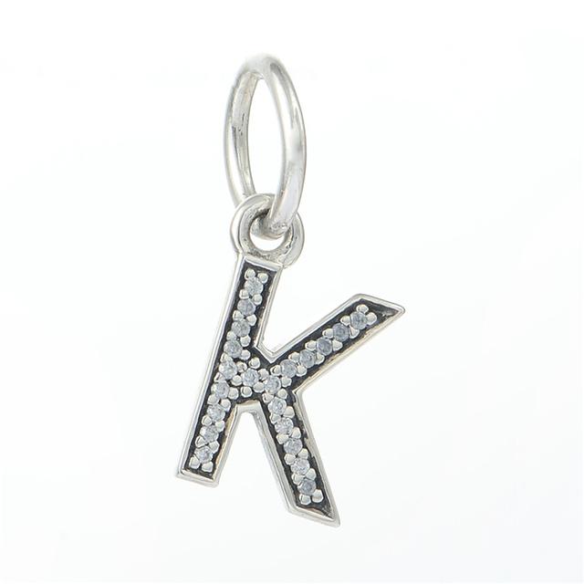 Подходит пандоры прелести браслет 100% 925 серебряная буква K бусины мотаться ожерелье ясно CZ шарм женщин DIY ювелирных оптовая продажа