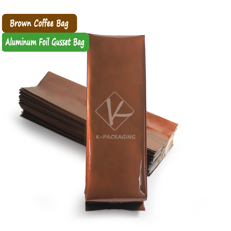 2015 Special Offer 8.5x26cm 250g Brown Coffee Plastic Bag / Tea Pouch Side Gusset / Foil Tea Packaging Bag(China (Mainland))