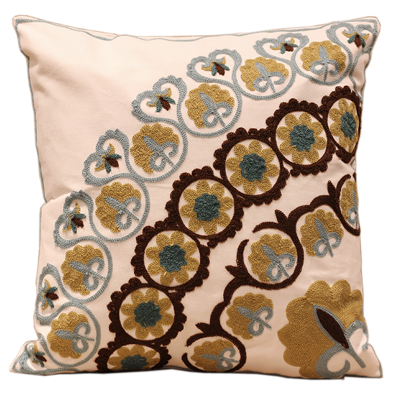 Cute Simple Flowers Embroidered Sofa Cushion Cover 100% Cotton Decorative Pillow Covers capa para almofada Room Ikea Decoration(China (Mainland))