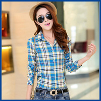 2015 Spring And Autumn Women Tops New Fashion Ladies Shirt  Slim Plaid Blouse Shirt with Ten Colors Four Sizes Free Shipping
