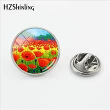 2018 New Merah Poppy Gesper Pin Bunga Stainless Steel Pin Poppies Lapel Pin Perak Kaca Cabochon Perhiasan(China)