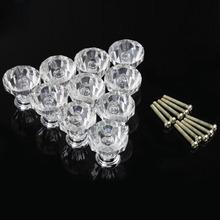#Cu3 New Fashion 10PCS Acrylic Pull Handle Shiny Crystal Knob 25mm for Cupboard Drawer (China (Mainland))