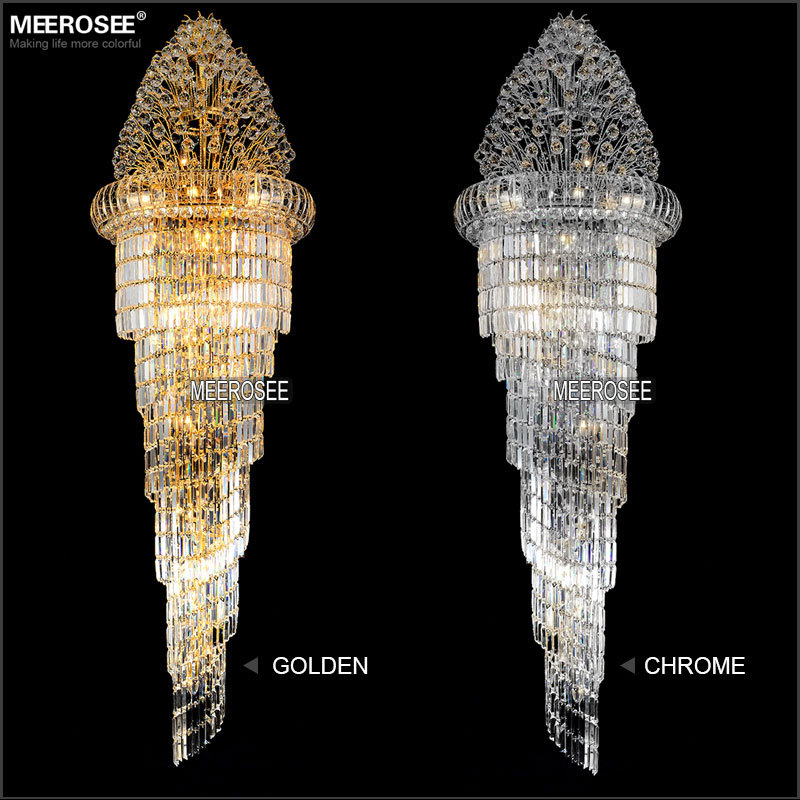 Large Crystal Chandelier Light Fixture Classic golden chrome Hotel Crystal Lamp for Lobby Stair Hallway 100% Guarantee<br>