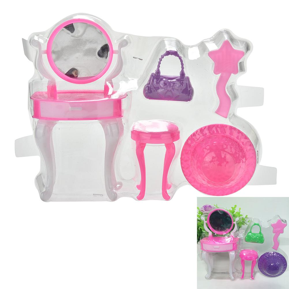 5Pcs/1 Set New Fashion Blister Toy for Barbie Plastic Dressing Table Bag Cap for Barbies Doll(China (Mainland))