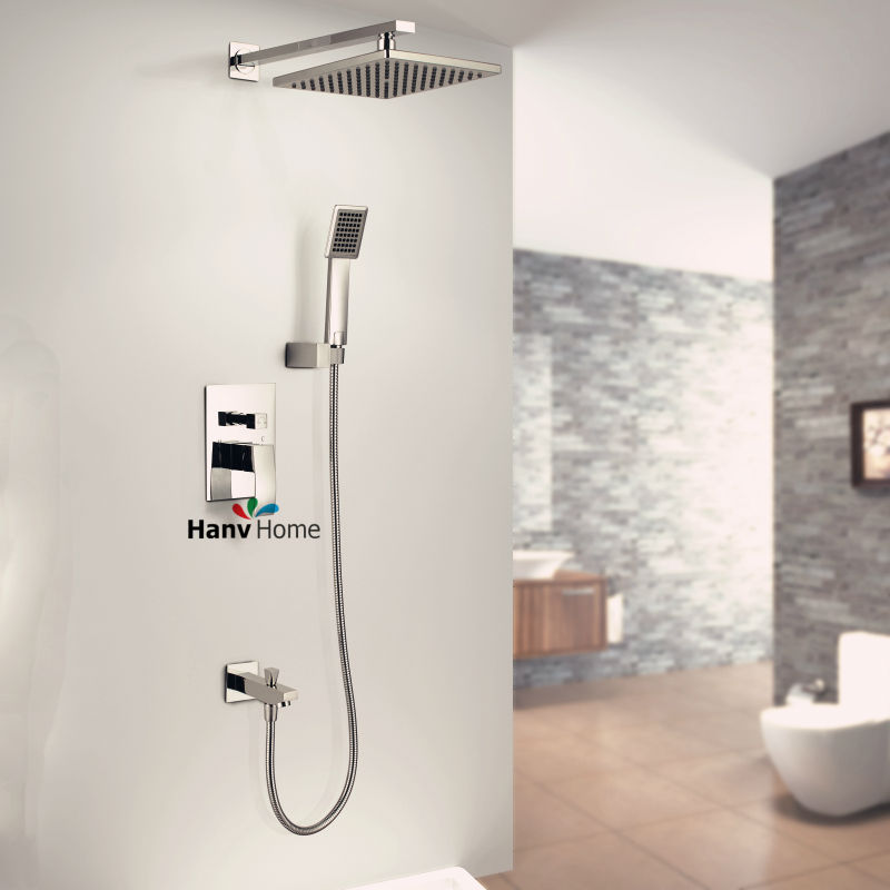 In Wall Shower Set Chrome Plated Hotels Square Rain Shower Head Bathroom Show