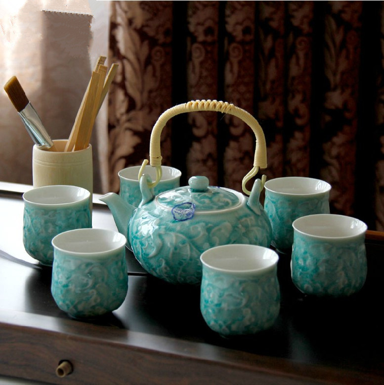 ceramic ice blue tea pot seven heads of a complete set of kung fu tea set/ tea set with gift box/ home decoration(China (Mainland))