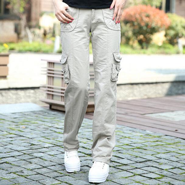 Khaki Cargo Pants Women 2015 New Fashion Womens Casual Pants 100% Cotton Multi-pockets Free Shipping(China (Mainland))