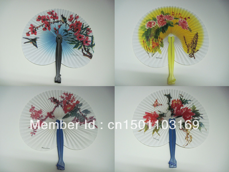 60Pcs/Lot Oriental Printed Flower Hand Paper Fans for Wedding(China (Mainland))