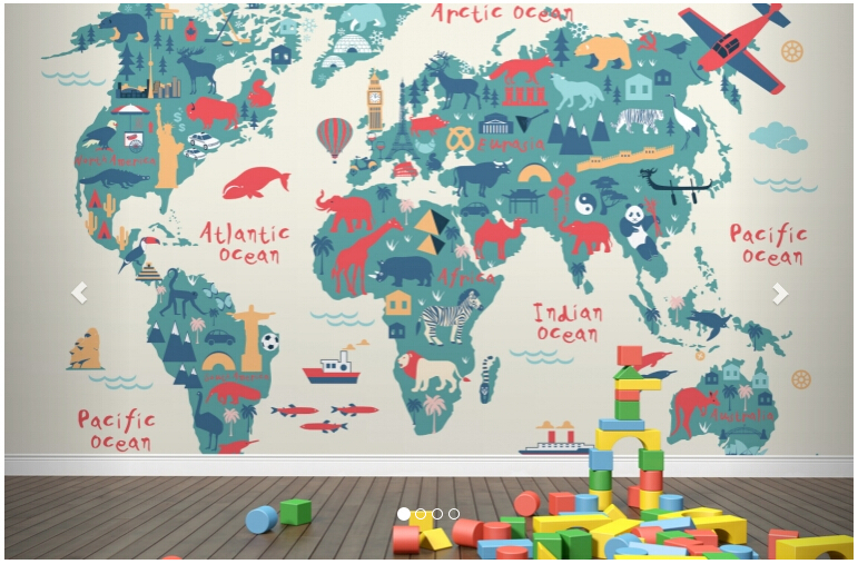 custom papel de parede infantil explorer kids world map