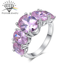 White Gold plated Filled Ruby Diamond Ring For Women Accessories fashion wedding Engagement Finger Romantic CZ Diamond Wedding