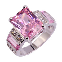 Free Shipping Gorgeous Jewelry Popular Pink Topaz & White Sapphire 925 Silver Ring Size 7 8 9 10 11 12 For Women Rings Wholesale