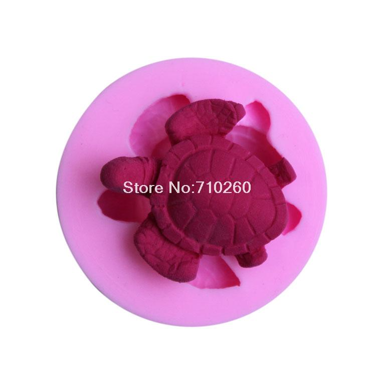The Food Grade Material Mini Cute Turtle 3D Silicone Fondant Mold Cake Decoration Tool free shipping(China (Mainland))