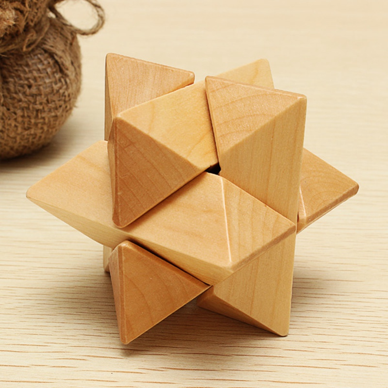 Classical Intellectual Toys For Kon Ming Lock Eight Corners Wooden Construction Puzzle Wooden Brain Teaser Logic Puzzle Toys(China (Mainland))