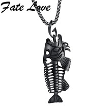 """Hollow White Black Golden Jewelry Unique Fish Bone Pendant 22""""Necklace 316L Stainless Steel Punk Personality Pendant FL1073(China (Mainland))"""