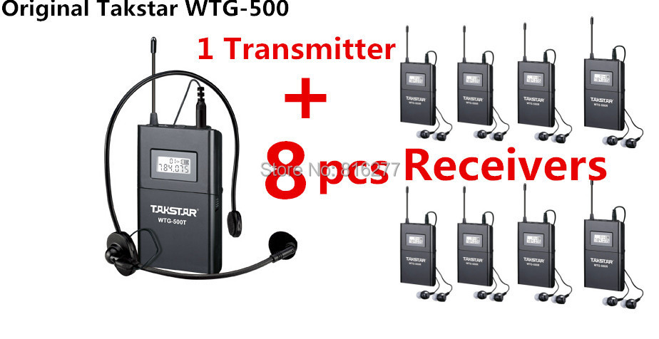 Hot sale Takstar WTG-500 1 Transmitter+ 8 Receiver+MIC+8earphone UHF Wireless tour guide system voice device teaching earphones(China (Mainland))