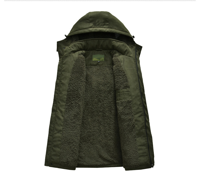Winter Men Fleece Jacket Over Coat Warm Outdoor Cotton Padded Coat Hooded Male Army Green Clothes
