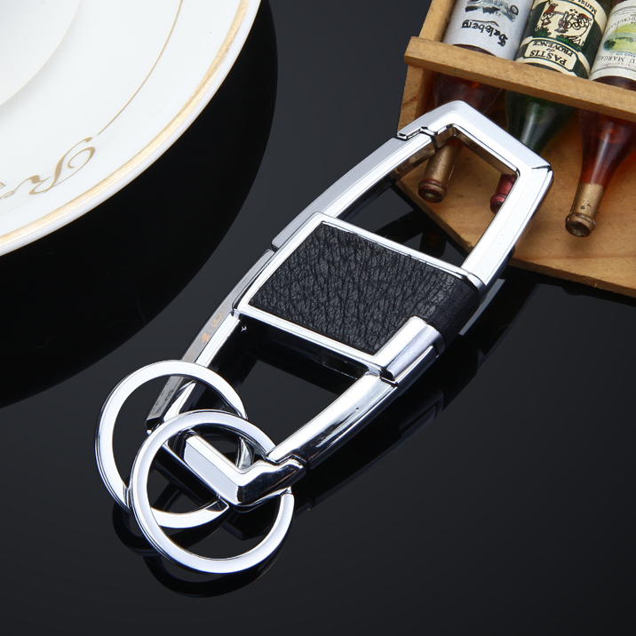 2016 High-end business 4S anniversary gift llaveros wholesale Leather Car Keychain boutique men waist hanging key chain ring(China (Mainland))