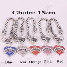 CURE MS Awareness Alert Medical sign Crystal Heart Silver Charm With 15CM Wheat Chain Lobster Claw Bracelet Children's Jewelry(China (Mainland))