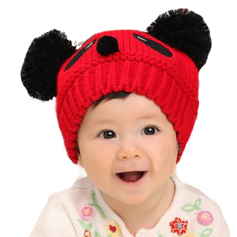 2016 Baby Winter Hat Toddler Girls/Boys Knitting Cap Cartoon Loverly Panda Crochet Beanies Hat Wool Knitted Hat(China (Mainland))