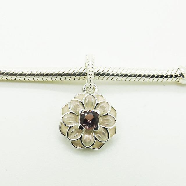 S925 бусины Springtimne с романтический мягкая розовой эмалью и ясно Cz подходит европейские браслеты 2016 весной мода ювелирных изделий