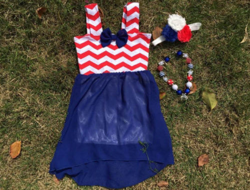 3pc Girl 4th of July Red White Blue Chevron Sheer Dress Necklace Bow 2 3 4 5 6 7 Free(China (Mainland))