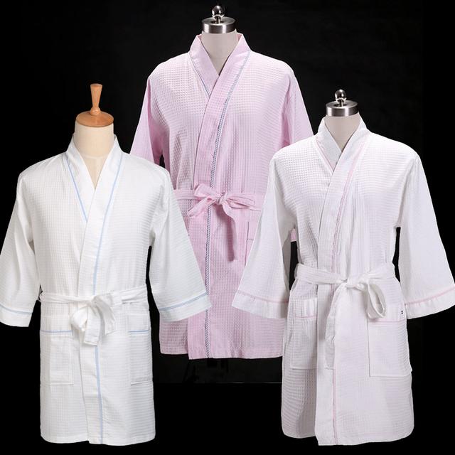 Мужская вафельный Халат Твердая Теплый Spa Ночное Туалетный хлопок пижамы Один размер
