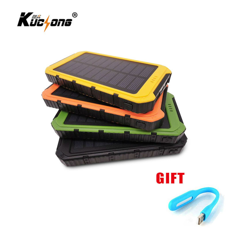 KuChong 10000mAh Solar Power Bank Dual USB Universal Solar Charger Battery Charger Powerbank for Phone Fast Shipping(China (Mainland))