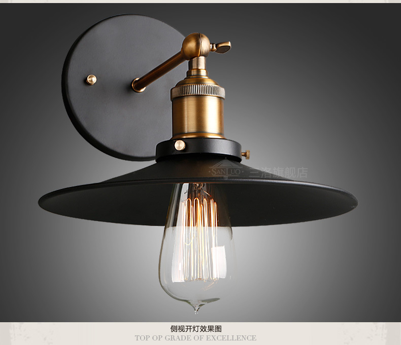 Free shipping High quality wrought iron balcony stair lamp Loft Northern Europe american vintage retro country wall lamp W62(China (Mainland))