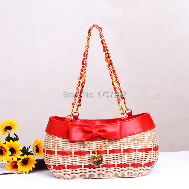 Straw bales the cane makes up the new leisure fashion female bag beach bag woven bag hand carry oblique satchel banquet bags(China (Mainland))