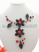 Lovely! Onyx&Coral&agate Necklace +free shippment(China (Mainland))