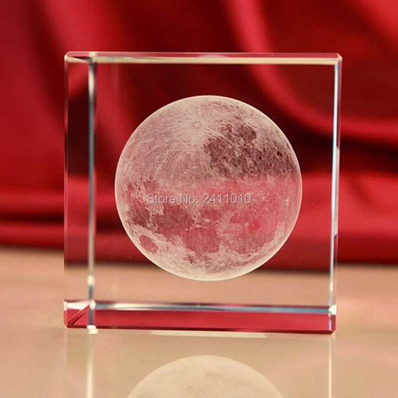 3D Laser Crystal Cube Insiding Carving Moon Paperweight Home Decoration Crafts Mother's Day Birthday Gifts Valentine Souviner(China (Mainland))