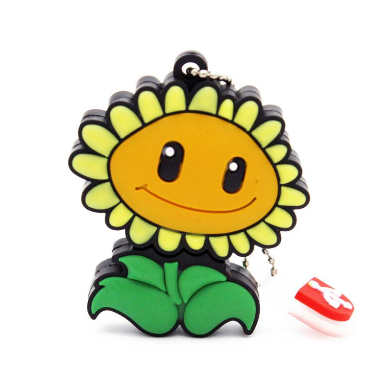 Free Shipping Sunflower USB Flash Drive Plants Vs Zombies hot sale cartoon pendrive 4GB/8GB/16GB/32GB memory stick promotion(China (Mainland))