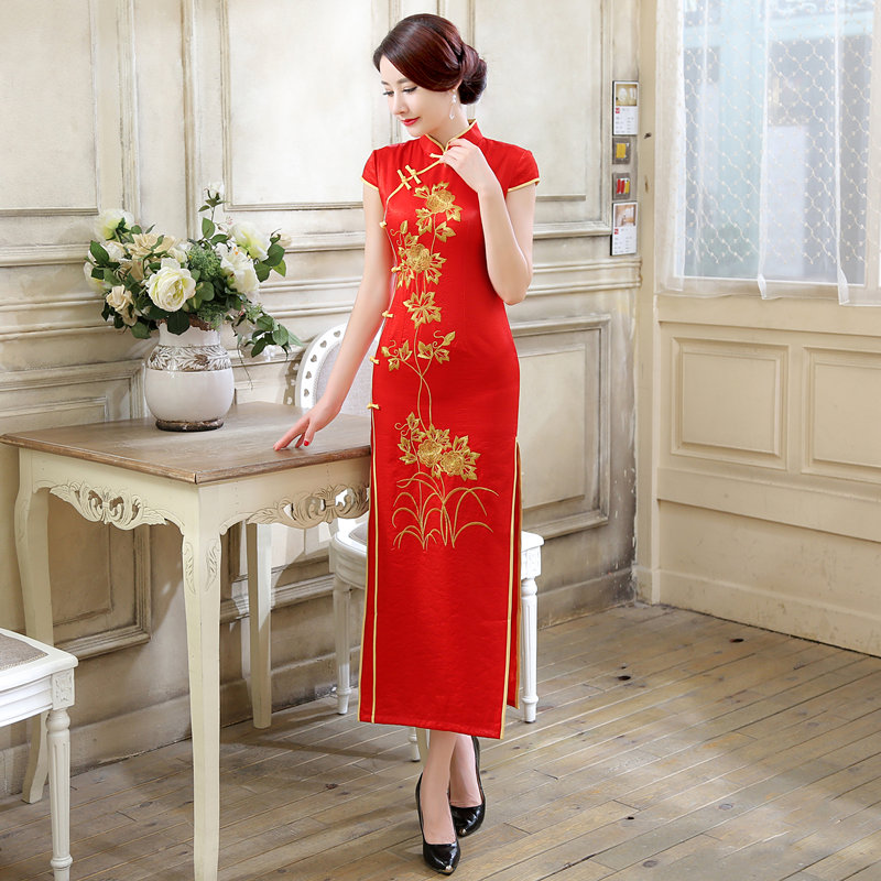 New Arrival Fashion Red Satin Long Cheongsam Chinese Style Women's Dress Elegant Slim Qipao Vestidos Size S M L XL XXL C0068