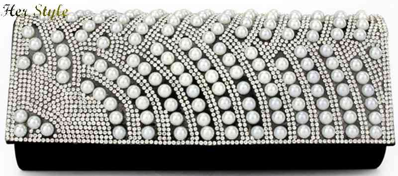 Free Shipping fine wave Pearl packs rhinestone evening bag clutch handbag dress for 1432559491(China (Mainland))