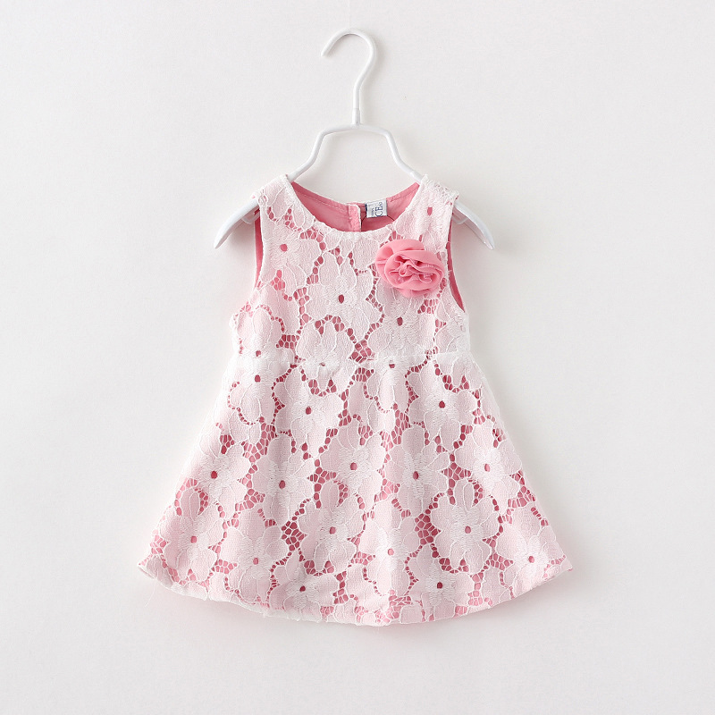 New summer girls water-soluble lace vest dress flower girls dress Korean foreign trade lace vest dress 2-5 years 5pcs/lot<br><br>Aliexpress
