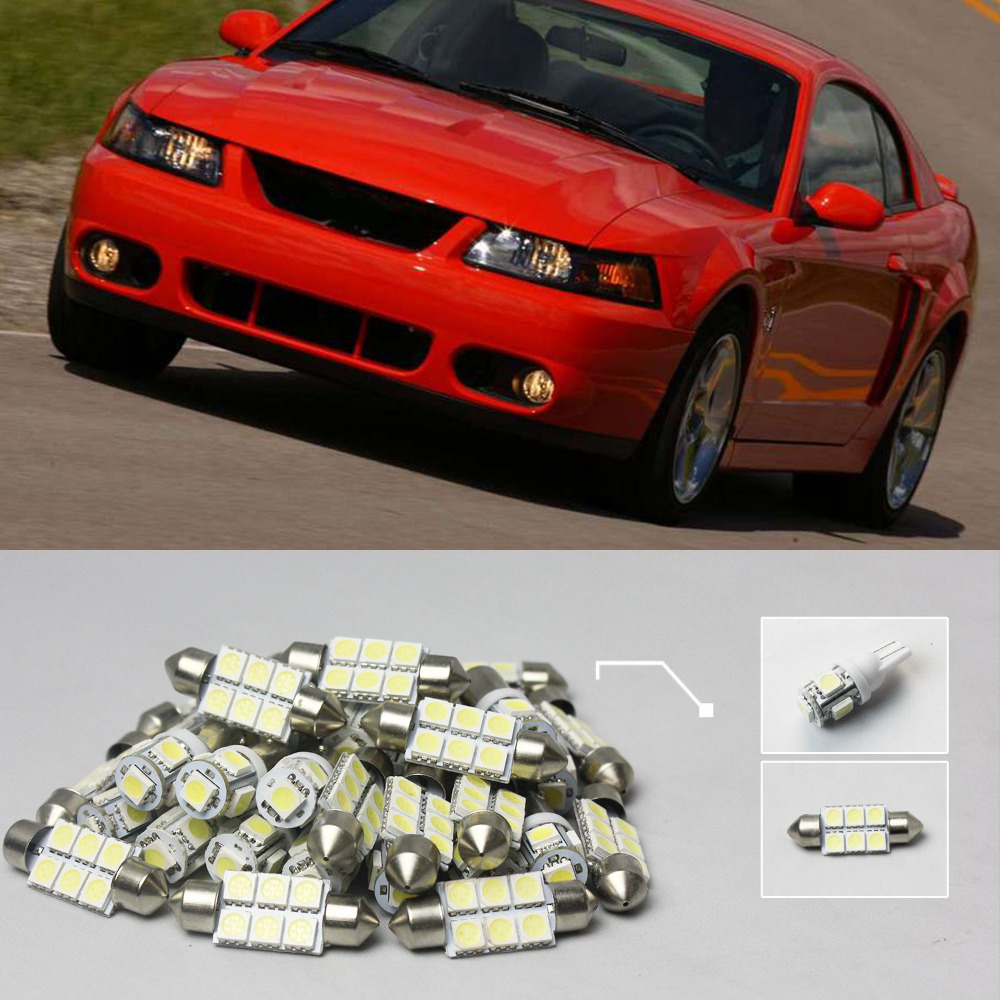Free Shipping!! #34 6x White LED Lights Interior Package Kit For Car Mustang 1994-2004(China (Mainland))